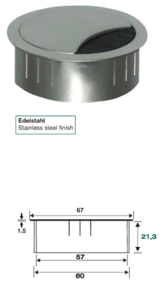 Kabeldose Stahl, Metallkabeldose, Kabeldose 60mm, Stahlkabeldose, Kabelauslassdose