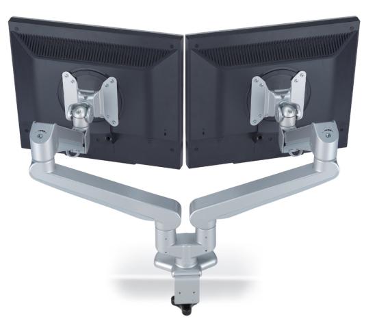 Doppelter Bildschirmschwenkarm, Doppelmonitorhalterung, doppelter Monitorhalter, Bildschirmhalter doppelt, zweifacher Monitorarm, Monitorhalter für zwei Monitore, Bildschirmhalterung für zwei Monitore