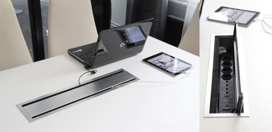 Flaptop, Kabelauslass beidseitig zu öffnen, Kabelklappe Konferenztisch, Tischanschlußfeld, Kabeldurchlass, Kabelauslassöffnung, Tischelektrifizierung, Schreibtischelektrifizierung, Kabelklappe Box