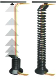 Kabelspirale elektrische Schreibtische, Kabelschlange Büro, Kabelführung für höhere Schreibtische, Kabelspirale Steh Sitz Tische