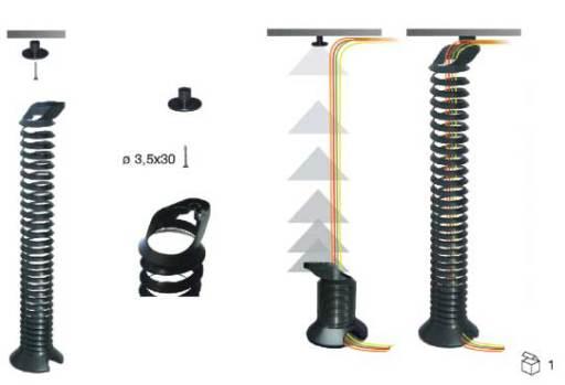 Kabelspirale höhenverstellbar, kabelschlange für hohe Tische, Kabelführung für elektromotorische Schreibtische, Kabelspirale hohe Schreibtische, Kabelspirale höhenverstellbare Schreibtische