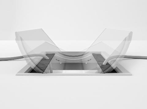 Kabelklappe zweiseitig, Kabelauslass Schreibtisch, Tischanschlussfeld Büromöbel, Tischanschluss Schreibtisch