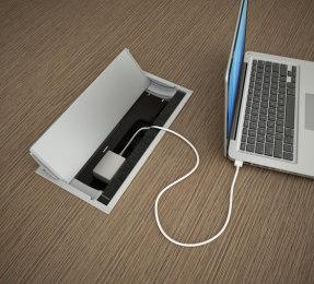 Tischanschlussfeld Schreibtisch, beidseitig elektrifizierbar, Kabelklappe Schreibtisch, Konferenztisch Tischanschluss