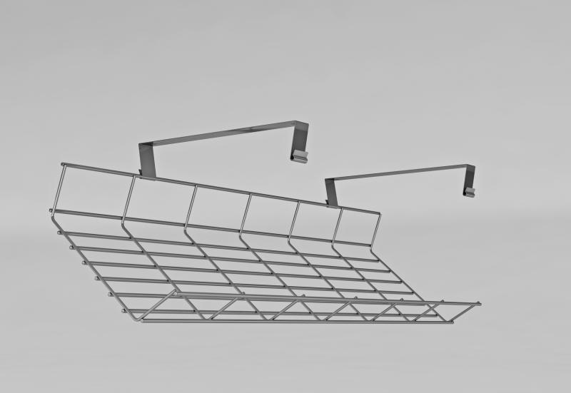 Gitterkanal zum Anschrauben, Kabelwanne unterschrauben, Gitterkabelkanal nachträglich montieren, Gitterkabelkorb Schreibtisch, Gitterkabelkanal abklappbar